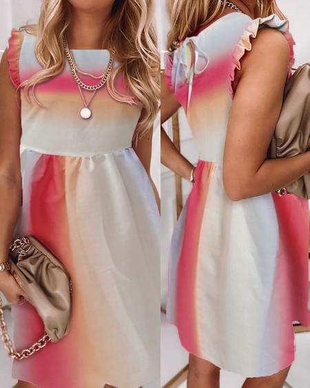 Colorblock Frill Hem Ruched Casual Dress