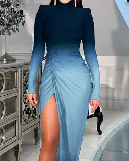 Ombre Colorblock Padded Shoulder High Slit Ruched Party Dress