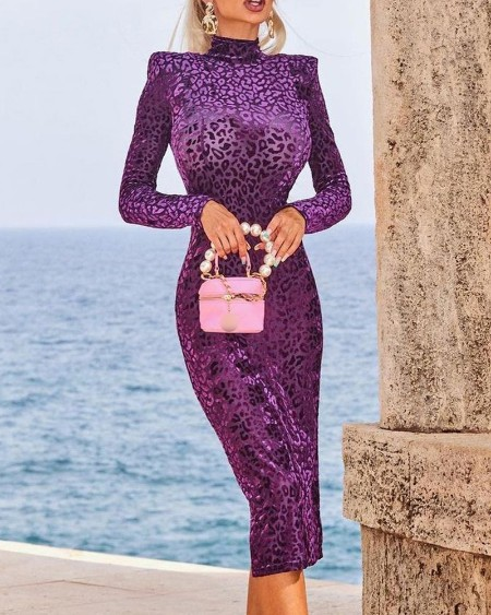 Leopard Print Long Sleeve Shoulder Pads Skinny Dress