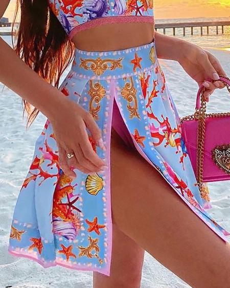 Graphic Print Crop Top & Slit Skirt Set