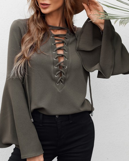 Eyelet Lace Up Bell Sleeve Casual Top