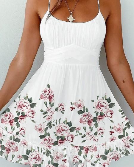 Floral Print Crisscross Backless Frill Hem Ruched Cami Dress
