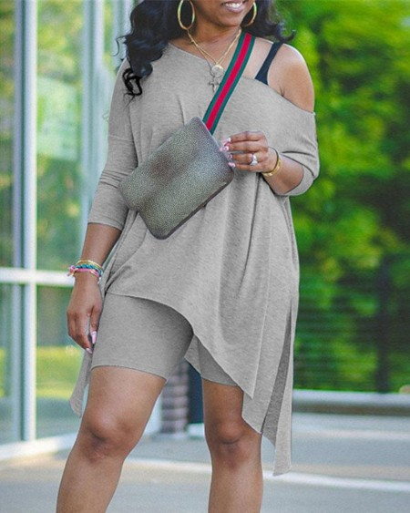 Solid Irregular Top & Fitted Shorts Set