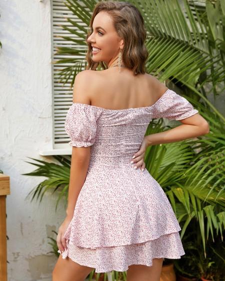 Layered Ruffles Off Shoulder Floral Print Dress