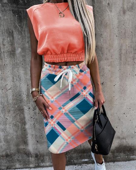 Plain Tank & Checkers Print Skirt Sets
