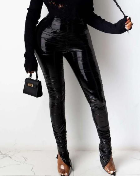 PU Leather High Waist Fold Ruched Slit Skinny Pants