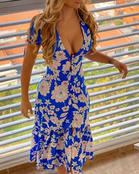 Floral Print Plunge Tied Detail Slit Maxi Dress