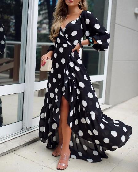 Polka Dot Print Wrap Asymmetrical Dress