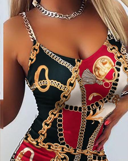 Scarf Print Chain Linked Drawstring Ruched Bodycon Dress Sleeveless Sling Skinny Dress Summer Dress