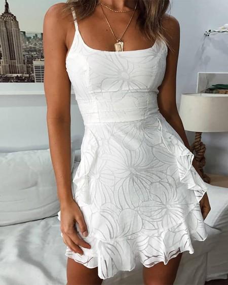 Spaghetti Strap Floral Pattern Ruffles Casual Dress