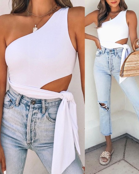 Solid One Shoulder Sleeveless Hollow-out Lace-up Bodysuit