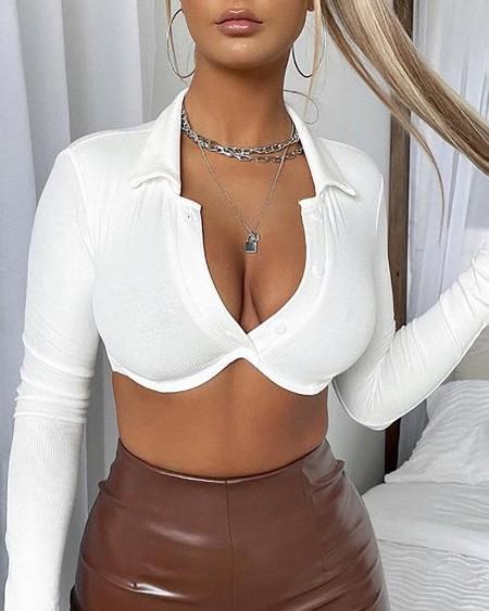 Long Sleeve Button Design Crop Top
