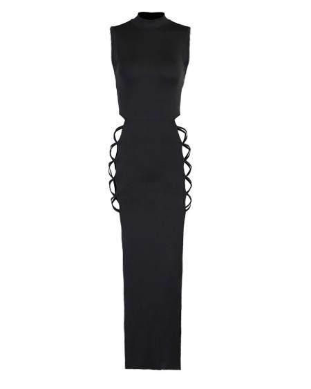 Mock Neck Plain Sleeveless High Slit Maxi Dress