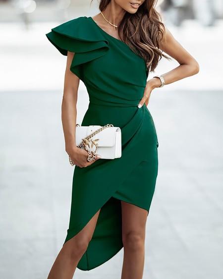 Plain One Shoulder Ruffles Slit Ruched Party Dress Elegant Cocktail Dress