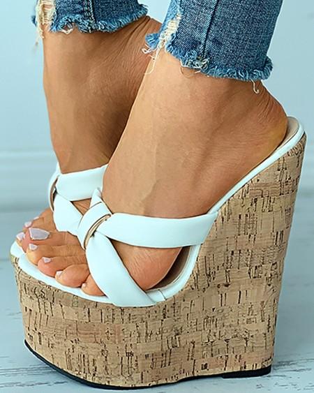 Open Toe Cutout Cork Wedge Sandals