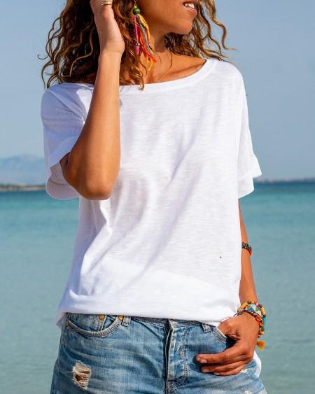 Cutout Plain Short Sleeve T-shirt