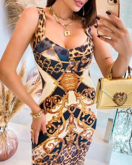 Cheetah Scarf Print Colorblock Midi Dress