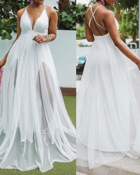 Crisscross Backless Sheer Mesh Maxi Dress