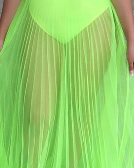 Off Shoulder Sleeveless Plain Sheer Mesh Dress