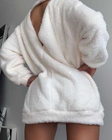 Fluffy Backless Long Sleeve Sweatshirt Dress