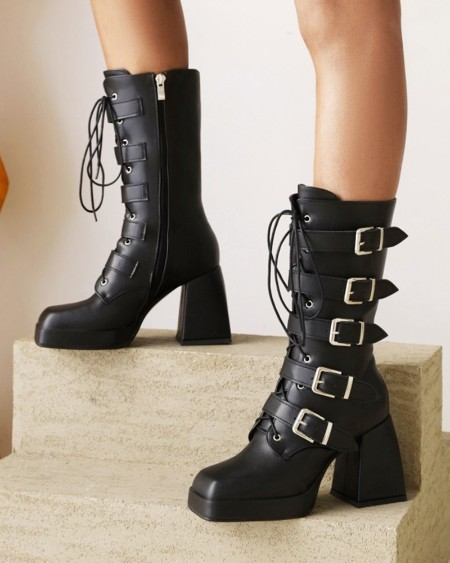 Ladies Buckle Decor Lace-up Square Toe High Heels Boots