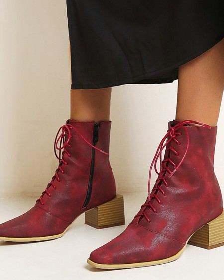 Chic Women Round Toe Heeled Lace Up Ankle Boots