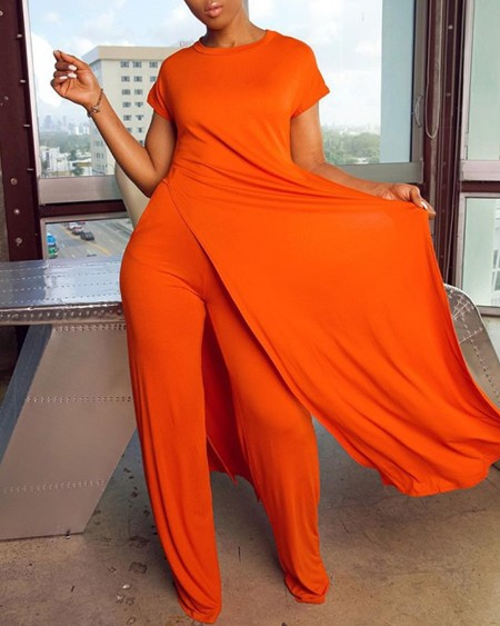 Short Sleeve Split Hem Longline Top & Pants Set