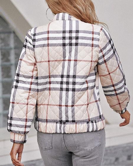 Plaid Print Long Sleeve Zipper Up Puffer Jacket