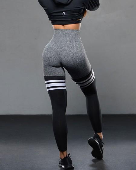 Color Block Splicing Striped Skinny Yoga Pants