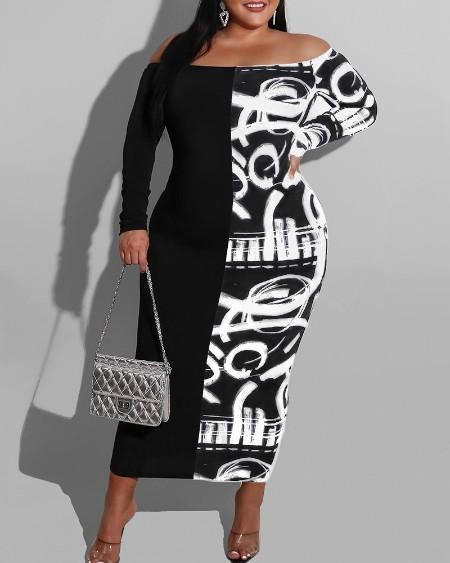 Plus Size Colorblock Off Shoulder Long Sleeve Maxi Dress
