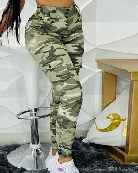 Camouflage Print Zipper Fly Button Decor Pocket Skinny Pants