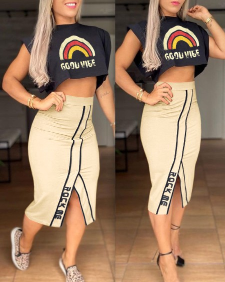 Rainbow Letter Print Top & Slit Skirt Set