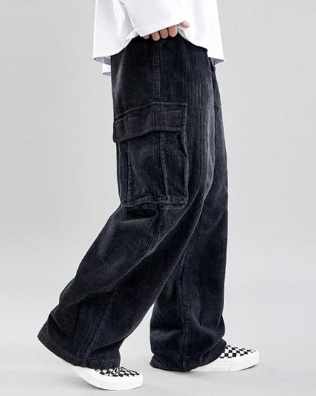 Solid Loose Cargo Corduroy Pants