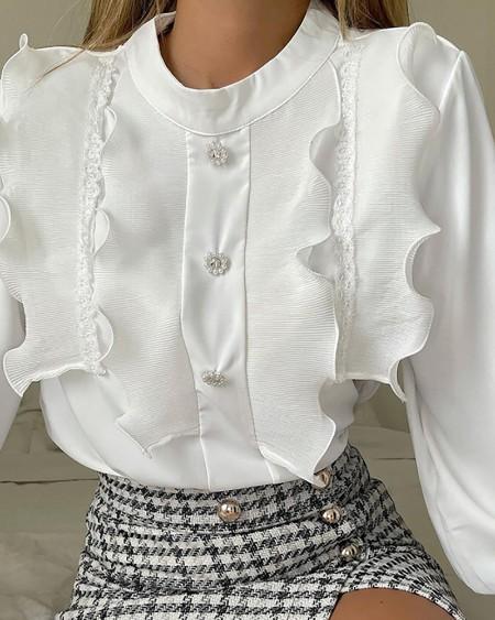 Long Sleeve Button Front Frill Hem Top