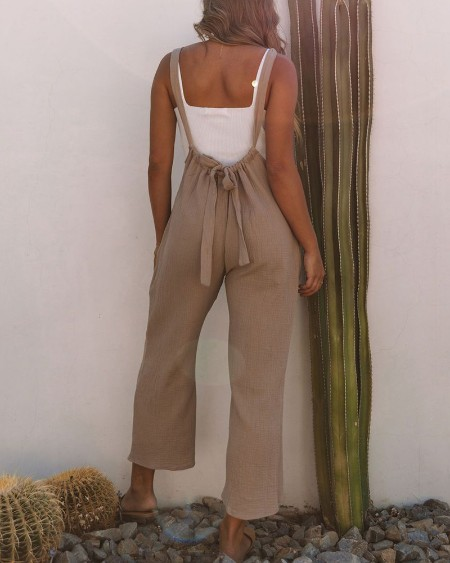 Solid Strappy Wide Leg Jumpsuit