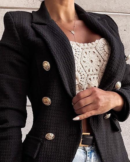 Double Breasted Pocket Design Blazer Coat