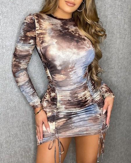 Ruched Tie Dye Print Drawstring Bodycon Dress