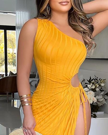 One Shoulder High Slit Drawstring Cutout Ribbed Maxi Dress