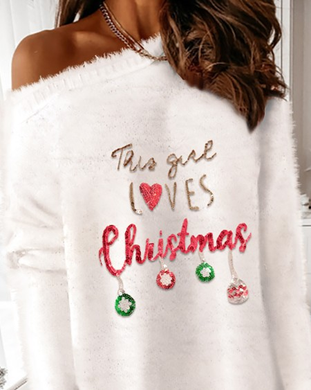 Christmas Sequins Long Sleeve Fluffy Sweater Dress