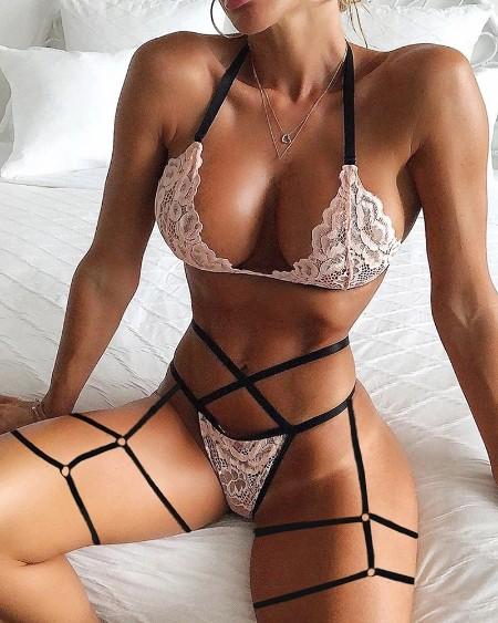 Crochet Lace Cutout O-Ring Garter Lingerie Set