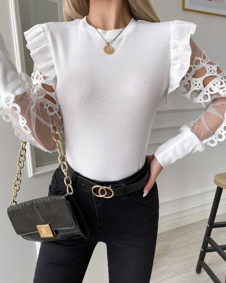 Solid Long Sleeve Lace Splicing Sweater Blouse