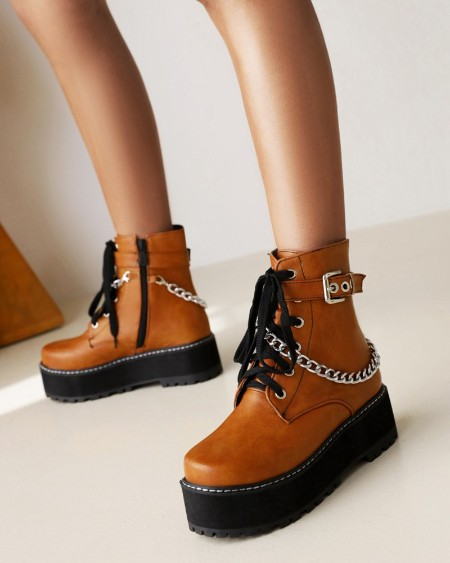 Womens Chain Decoration Round Toe Lace-up Platform Martin Boots