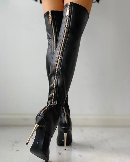 Zipper Knee-High Thin Heel Boots