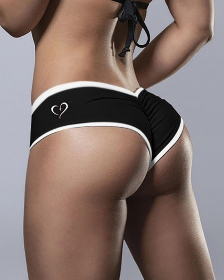 Heart Print Contrast Binding Ruched Panty