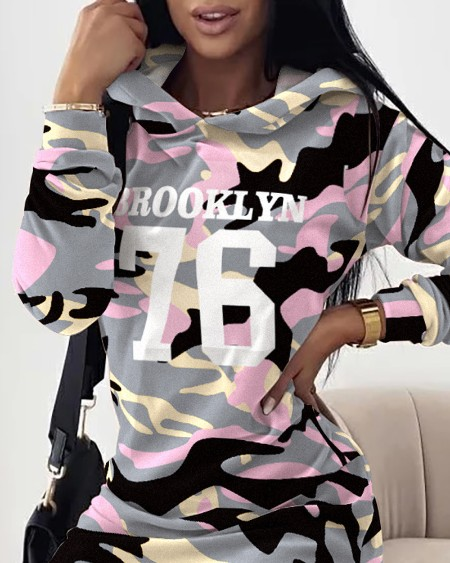 Letter Camo Print Long Sleeve Hooded Sweatshirt Dress
