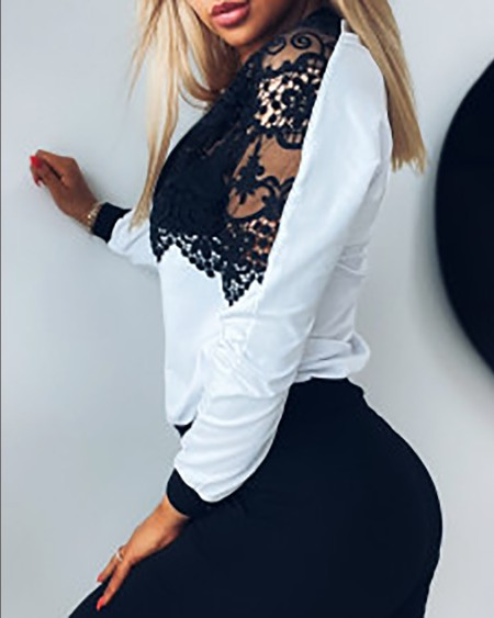 Casual Colorblock Round Neck Jackets Tops Guipure Lace Zipper Front Long Sleeve Coat