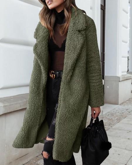 Plain Longline Teddy Coat