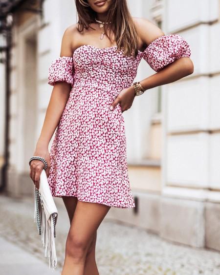 Ditsy Floral Print Off Shoulder Shirred Short Sleeve Mini Dress