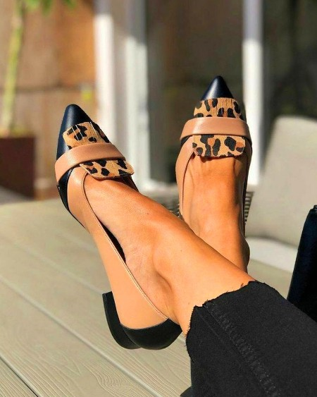Leopard Print Point Toe Chunky Loafers