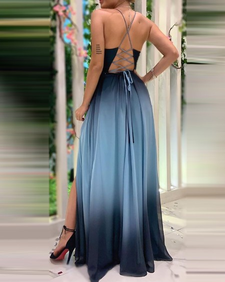 Crisscross Lace-up Backless Colorblock Party Dress